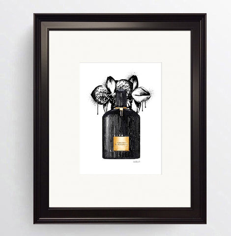 Perfume - ' Tom Ford Black Orchid ' Black Framed Art Picture 36 x 31cm
