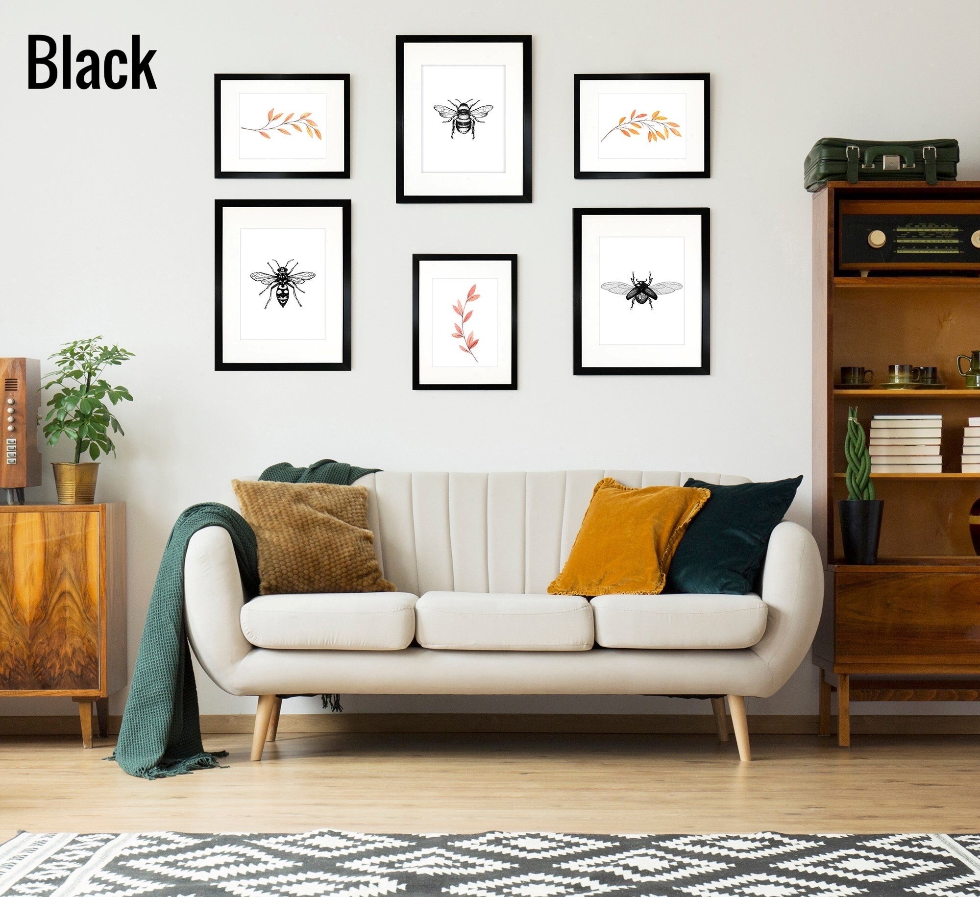 Oxford Black Gallery Wall Set of 6 Frames - 3 x A3 for A4 and 3 x A4 for A5 Frames