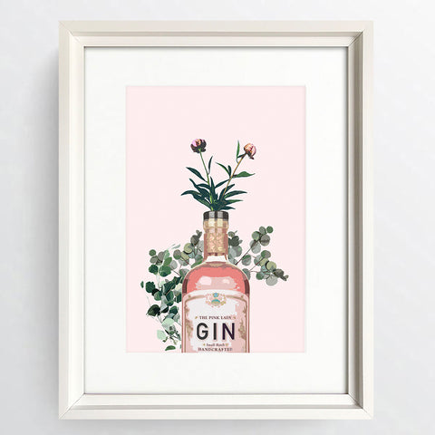 """Happy Hour Pink Gin"" White Framed Art Picture   16x12"""