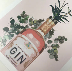 """Happy Hour Pink Gin"" White Framed Art Picture   16x12"" - photoframesandart"
