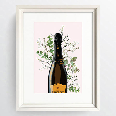 """Happy Hour Prosecco"" White Framed Art Picture   16x12"""