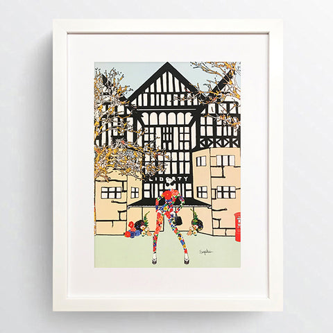 City Girls - 'Liberty' White Framed Art Picture 44 x 34cm