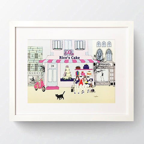 City Girls - 'Rico's Cake' White Framed Art Picture 44 x 34cm
