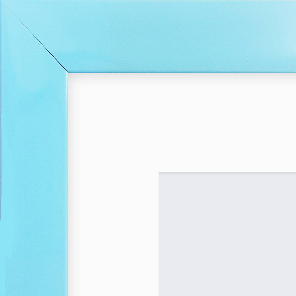 "Olympia Glossy Light Blue Photo Frame 14x11"" For 10x7"" With Soft Cream Mount - photoframesandart"