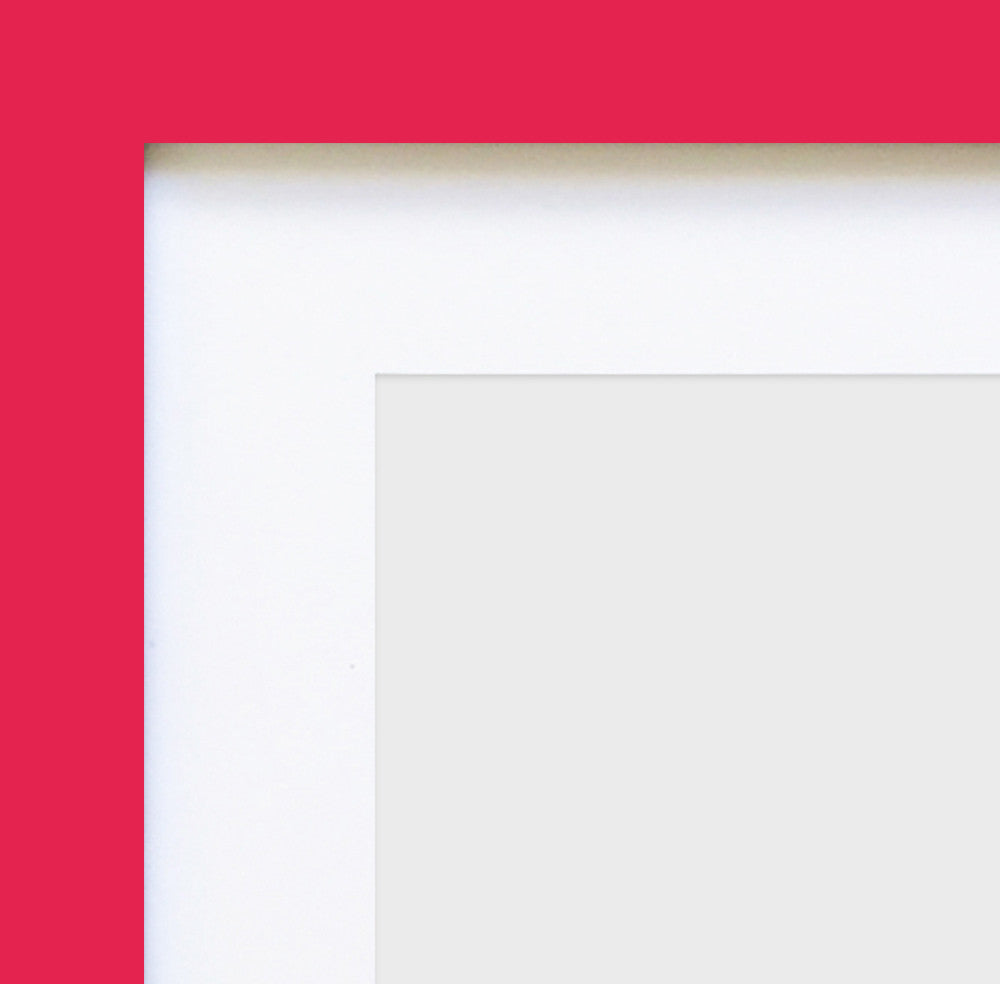 "Olympia Glossy Cerise Pink Photo Frame 16x9"" Multi For x3 6x4'' With Soft Cream Mount - photoframesandart"