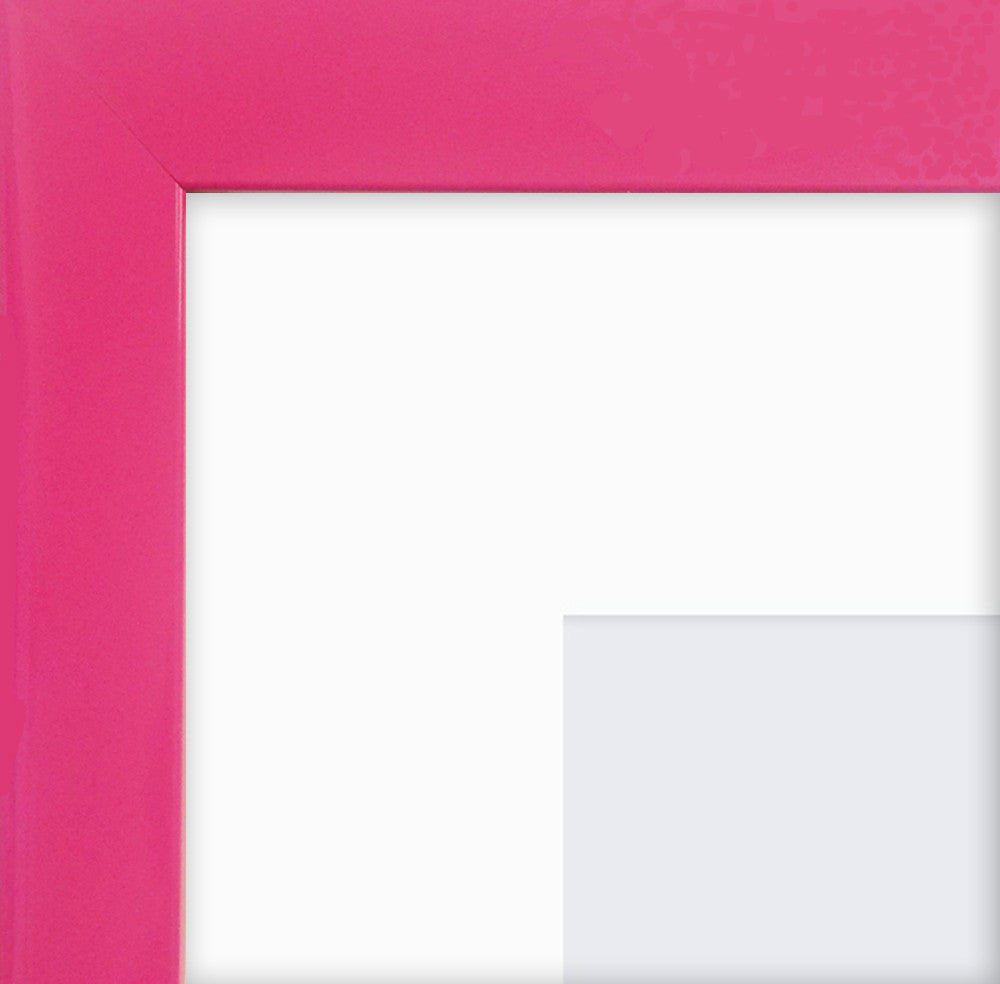 "Olympia Glossy Cerise Pink Photo Frame 7x5"" For 5x3'' With Soft Cream Mount - photoframesandart"