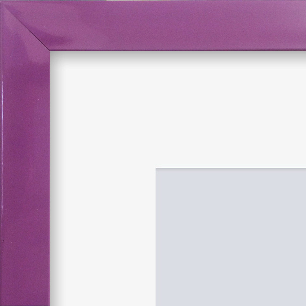 "Olympia Glossy Purple Photo Frame 26x6"" For x6 3x3'' Multi With Soft Cream Mount - photoframesandart"