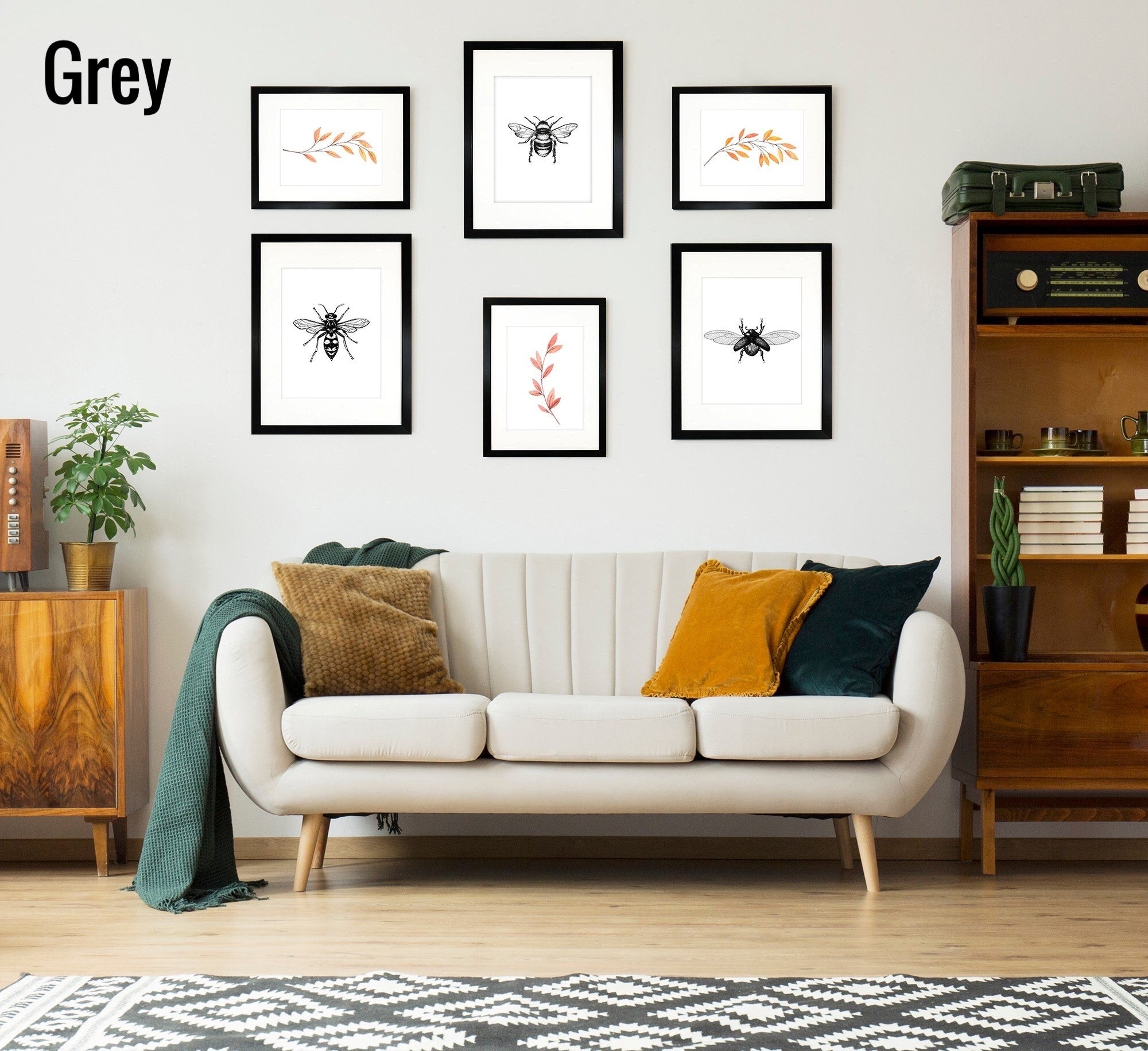 Oxford Grey Gallery Wall Set of 6 Frames - 3 x A3 for A4 and 3 x A4 for A5 Frames