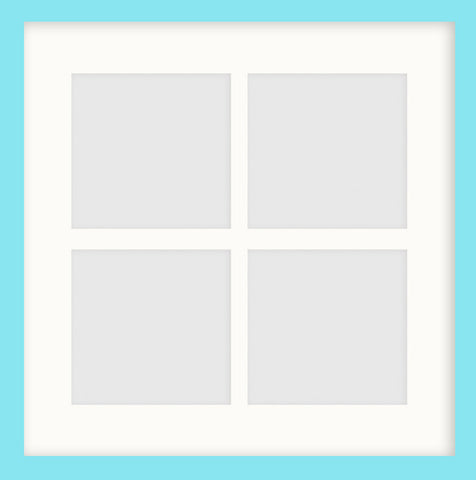 "Olympia Glossy Aqua Blue Photo Frame 14x14"" Instagram Multi For x4 5x5'' With Soft Cream Mount"
