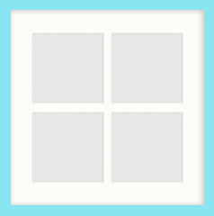 "Olympia Glossy Aqua Blue Photo Frame 14x14"" Instagram Multi For x4 5x5'' With Soft Cream Mount - photoframesandart"
