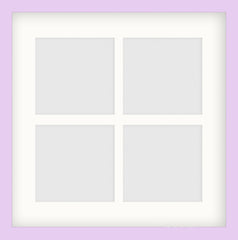 "Olympia Glossy Lilac Photo Frame 14x14"" Instagram Multi For x4 5x5'' With Soft Cream Mount - photoframesandart"
