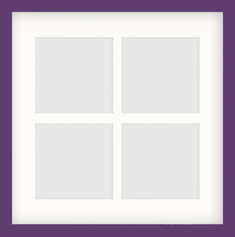 "Olympia Glossy Purple Photo Frame 14x14"" Instagram Multi For x4 5x5'' With Soft Cream Mount"