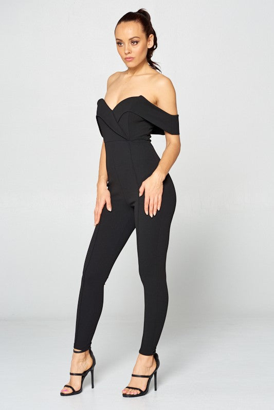 TAKIN IT OFF SHOULDER JUMPSUIT