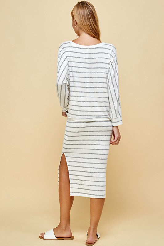 WHITE / BLACK STRIPED SKIRT SET