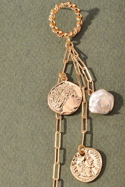 HANGING  ON GOLD COIN EARRING