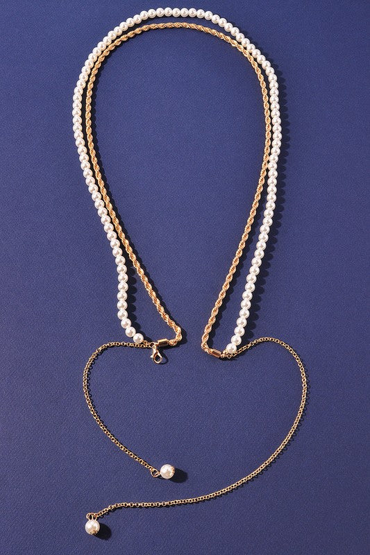 GOLD & PEARL LONG CHAIN NECKLACE