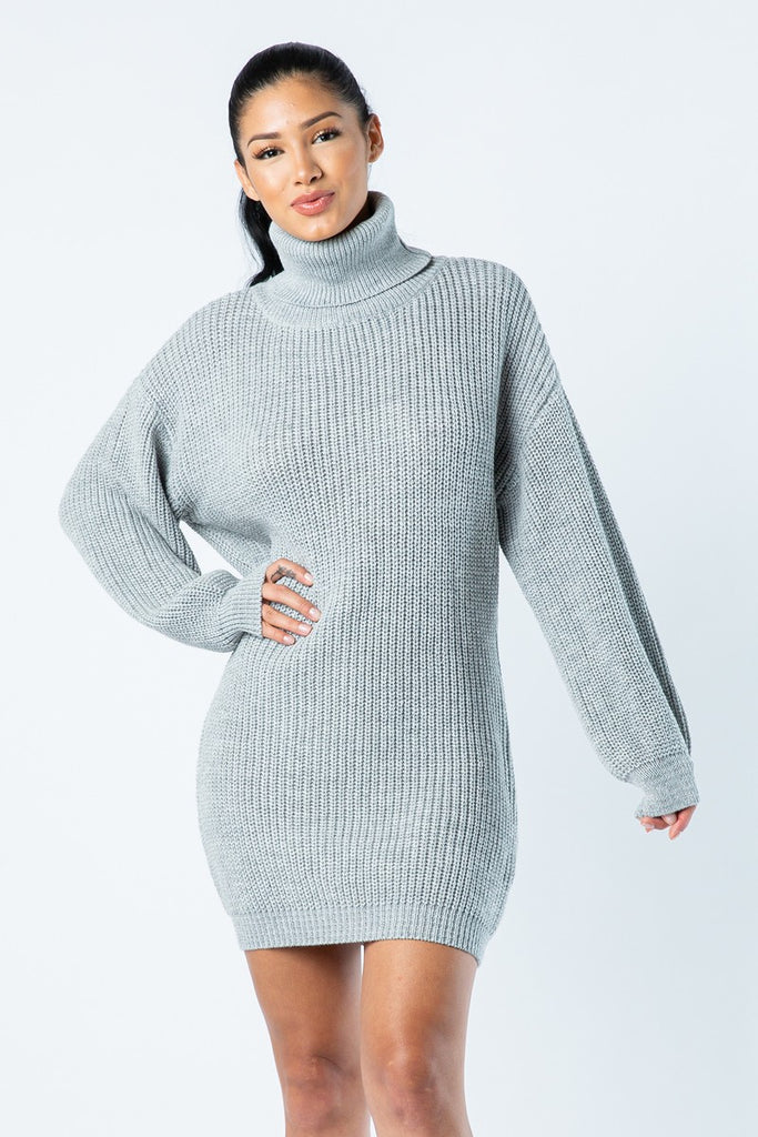 SWEATER UP MINI TURTLENECK DRESS