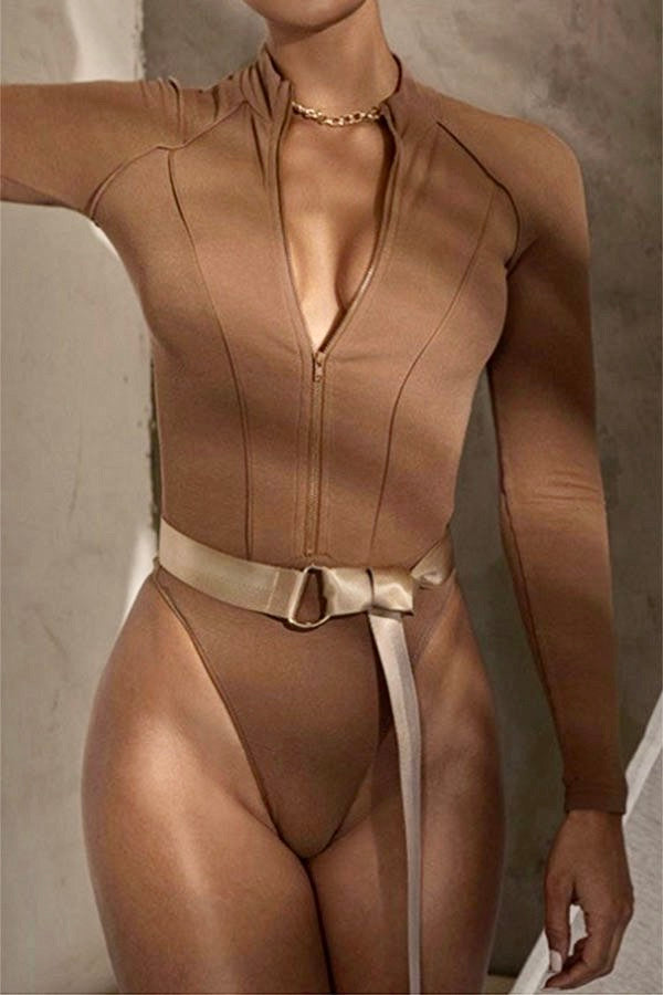 ZIPPED UP AND BLUSHED BODYSUIT