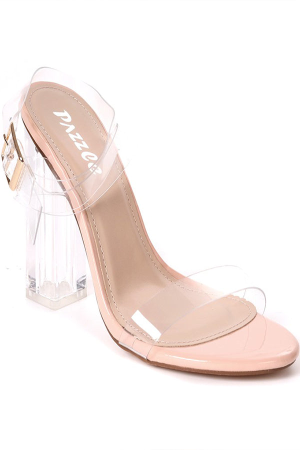 STEPPING UP CLEAR BLOCK SANDAL