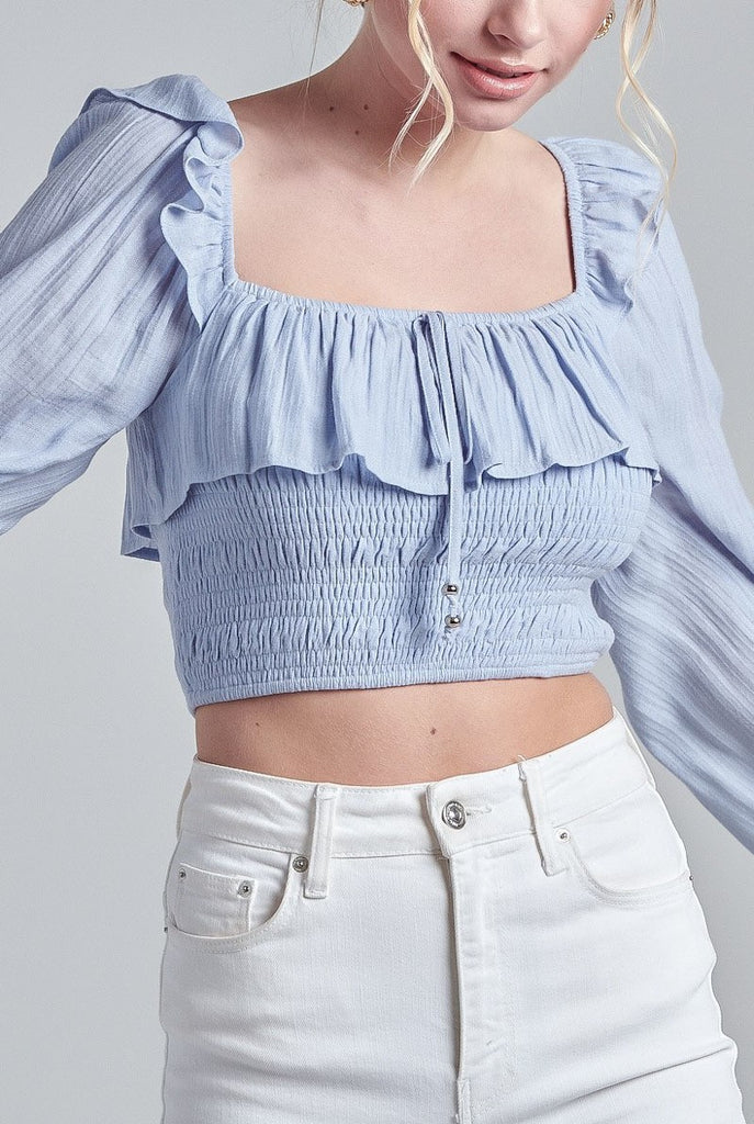 OFF OR ON RUFFLE TOP