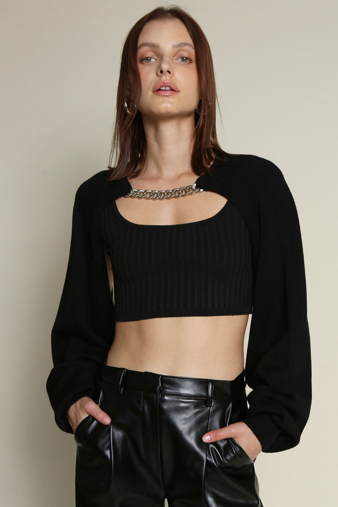 CHAIN AND OPEN SWEATER TOP