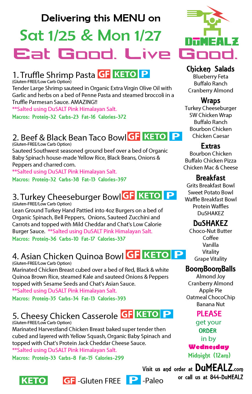 Menu Saturday 1/25 & Monday 1/27