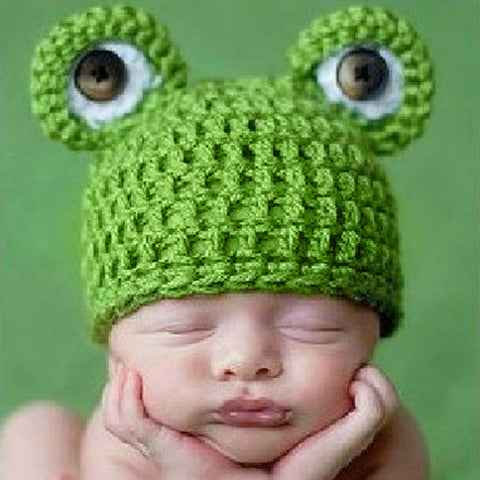 Handmade Crochet Frog Hat for Baby Girl or Baby Boy
