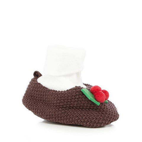 Bluezoo Brown knitted Pudding Booties