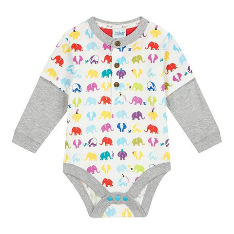 Baker by Ted Baker Baby Grey Elephant Print Mock Layered Bodysuit