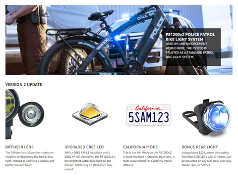 NIGHT PROVISION™ PS1200v2 | POLICE PATROL FRONT & REAR BIKE LIGHT SET: 1200 LUMENS WITH RED/BLUE STROBE - RECHARGEABLE