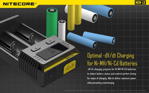 NITECORE NEW I2 INTELLICHARGER CHARGER FOR 18650 AAA AA LI-ION/NIMH BATTERY
