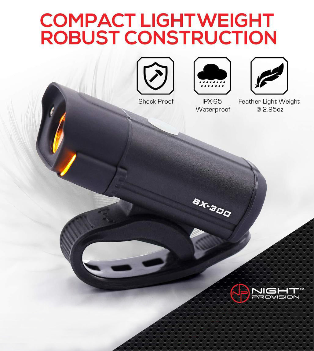 NP NIGHT PROVISION BX-300 USB Rechargeable LED Bike Light Set Front and Back Cycling Safety Lights Best Headlight with New DUO-120 USB Tail Light for Adults Kids Men Women