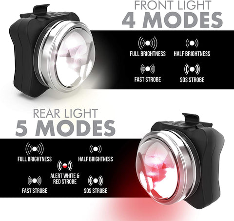OPTIKS 210 FRONT & REAR COMPACT USB RECHARGEABLE BIKE LIGHT SET