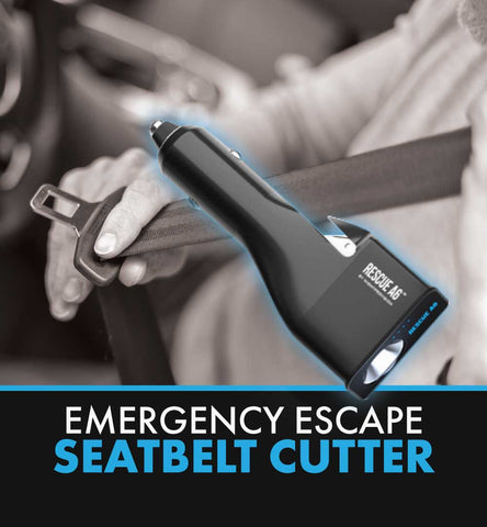 RESCUE A6 Emergency 6-in-1 Car Safety Device USB Car Charger Window Breaker Seat Belt Cutter 2200mAh Power Bank Powerful LED Flashlight with Red Emergency Beacon