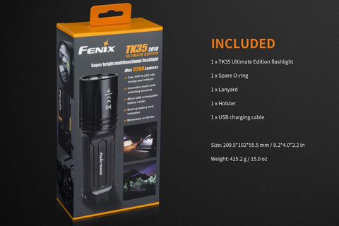 FENIX TK35 UE 2018 BUNDLE ULTIMATE EDITION 3200 LUMEN TACTICAL FLASHLIGHT USB RECHARGEABLE + 2X USB 18650