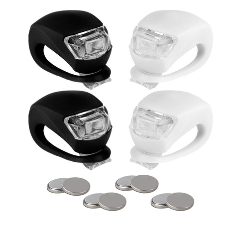 BLINK4 MINI SILICONE STRAP ON LED BIKE LIGHT - 4 LIGHTS SET - 2 FRONT & 2 REAR BIKE LIGHT SET - BLACK & WHITE