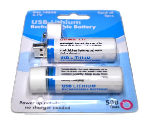 USB-18650 | 3.7V 18650 LI-ION USB CHARGER & BATTERY 2 PACK - [NOT AA BATTERIES]