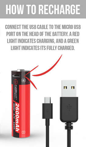 3.7V 2600MAH USB RECHARGEABLE 18650 BATTERY LI-ION  5.2A & USB Cable