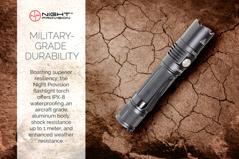 NIGHT PROVISION™ TX11 | TACTICAL FLASHLIGHT TORCH CREE XPL-HD 1000 LUMEN LED & HOLSTER