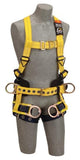Back, front and side D-rings, belt with pad, seat sling with positioning D-rings, tongue buckle leg straps (size Medium).