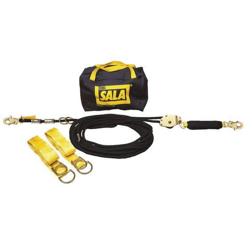 40 ft. (12.2m) kernmantle rope horizontal lifeline system with tensioner, energy absorber, two 6 ft. (1.8m) tie-off adaptors and carrying bag. - Barry Cordage