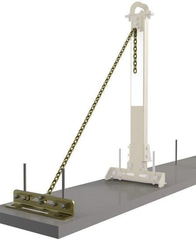 Tie-back base assembly with chain for SecuraSpan™ rebar/shear stud horizontal lifeline stanchion.
