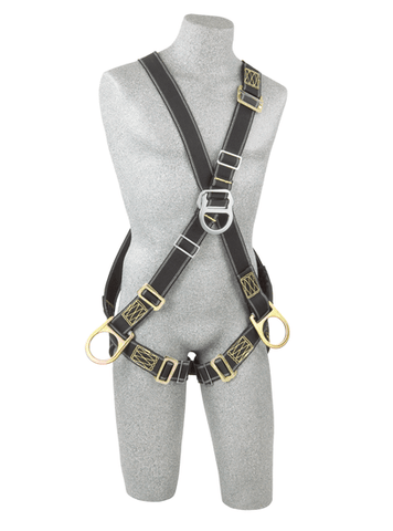 Back, front and side D-rings, Nomex®/Kevlar® fiber webbing, pass-thru buckle leg straps (size Universal).