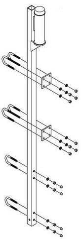 "Top bracket for fixed ladder with energy absorber for system over 500 ft. (152.4 m), galvanized, attaches to four rungs up to 1-1/8"" (2.85 cm) diameter. - Barry Cordage"