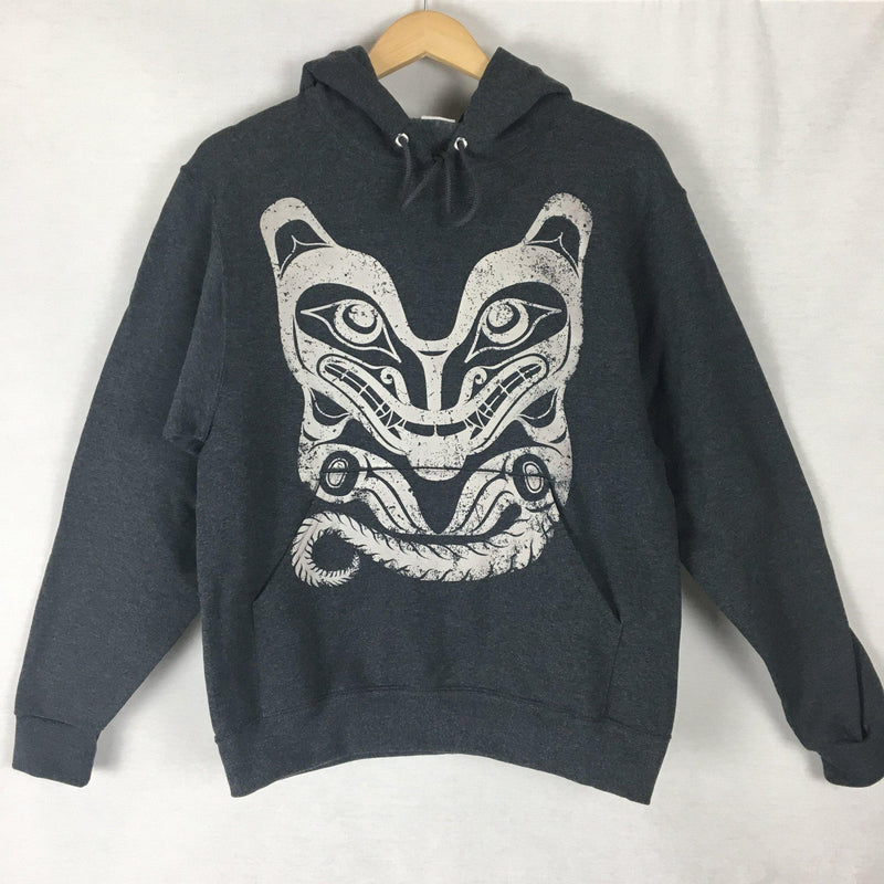 Unisex Hoodie -Charcoal Grey Wolf Design