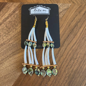 Dentalium and abolone earrings