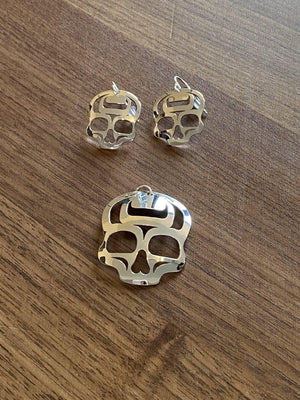 "Ancestral Skull Earrings Sterling Silver 1"" Earrings"