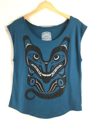 Womens Cap-sleeve Bamboo Top - WOLF Motif