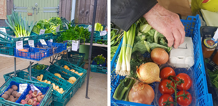 Left: Wide shot of vegetables at the farmer's market; Right: Hand reaching into box with vegetables