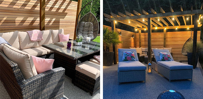 Huxley Dining Sofa Set and the Fiennes Luxury Sun Loungers by @thehappyhome2020